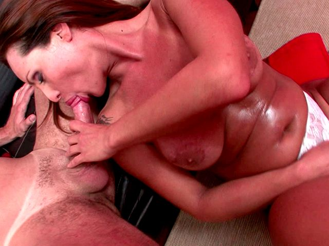 Superb redhead shemale cutie with big jugs Abba sucking a monster phallus in POV style