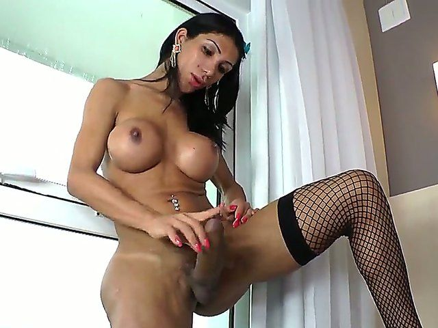 Alluring shemale Sabrina Suzuki is wanking her lovely pecker till she burst out with delight