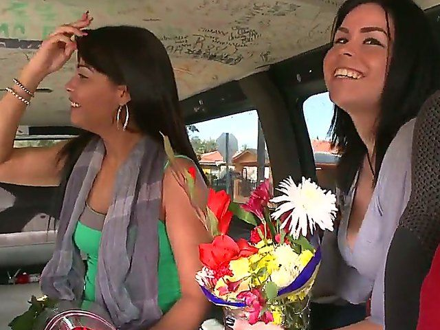 Isabella and her friend look gorgeous with this bouquet of flowers, and the horny driver noticed that