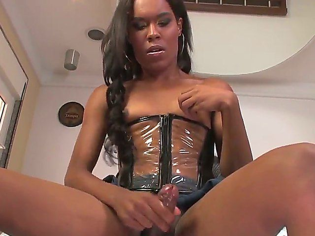 Look at beautiful horny shemale Nicky B getting off by self-stimulation