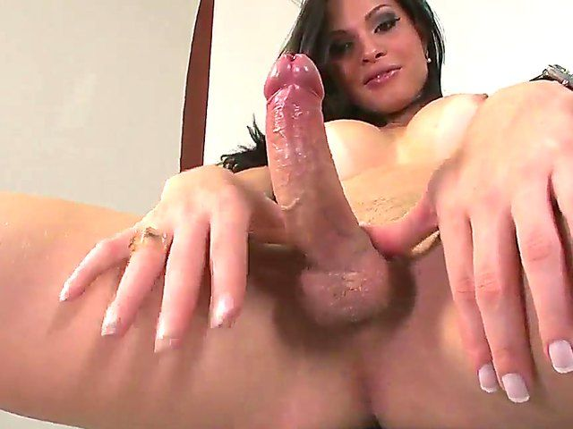The attractive brunette she-male Ana Paula Samandat with a tasty tits and ass demonstrates his cock