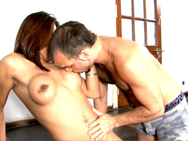 Busty brunette tranny whore Selia getting anally fucked by a massive schlong