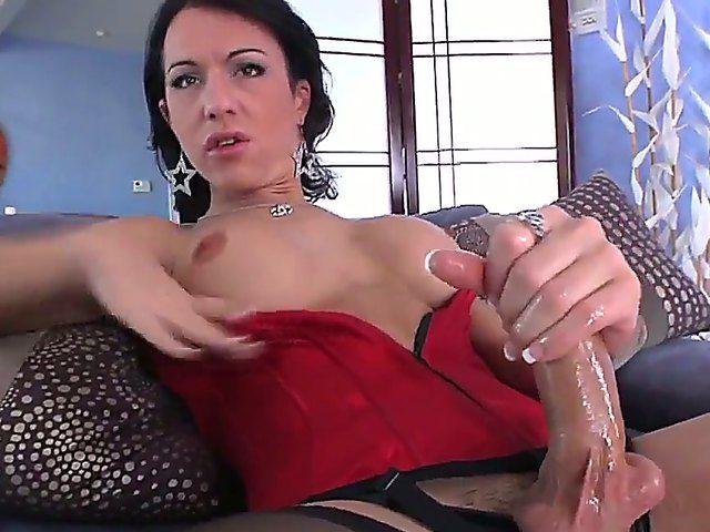Busty shemale Danika Dreamz enjoys jerking his huge dick, feeling intense pleasure all the way