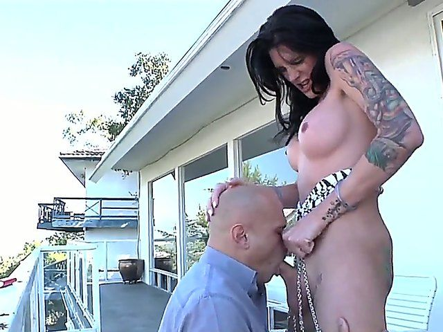 Hot blowjob by attractive Vin Deacon to his friend she-male tattooed Morgan Bailey