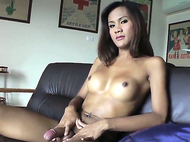 The attractive brunette she-male Rin with a small tits demonstrates in front of camera his cock
